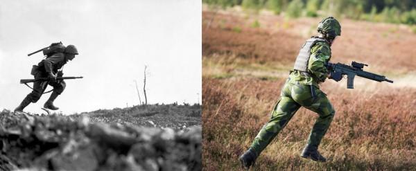 Människan i strid har studerats så länge krig har funnits. Trots det så är den vetenskapliga litteraturen inom militär psykologi relativt sparsam Foto: National Archives (Public Domain) samt Anna Norén, Försvarsmakten/Combat Camera