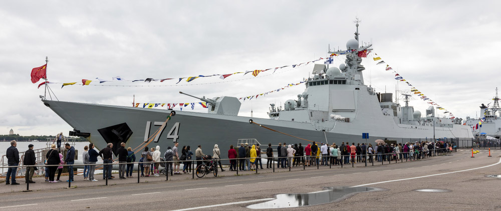 Helsinki, Finland - August 2, 2017: Chinese warships visiting Helsinki, Finland August 1.-4. The picture shows the type 052D destroyer Hefei. Photo: Karis48 / Shutterstock.com