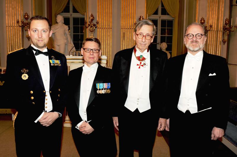 De nyinvalda ledamöterna som tog sitt inträde i akademien under högtidssammankomsten, fr vr David Bergman, Tommy Åkesson, Staffan Carlsson och Erik Wennerström.