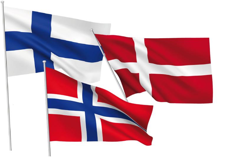 Finska, norska och danska flaggorna. Foto: Mikrobiuz / Shutterstock