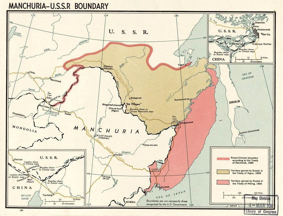 Landområdena som Kina avträdde till Ryssland 1858 respektive 1860. Källa: CIA - Library of Congress Geography and Map Division Washington, D.C.