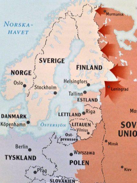 Röda arméns kraftsamling till Finlands gräns före Vinterkriget. (Kartbilden från Ari Raunio: De militära operationerna – De finska krigen 1939-45, Karttakeskus, 2008)