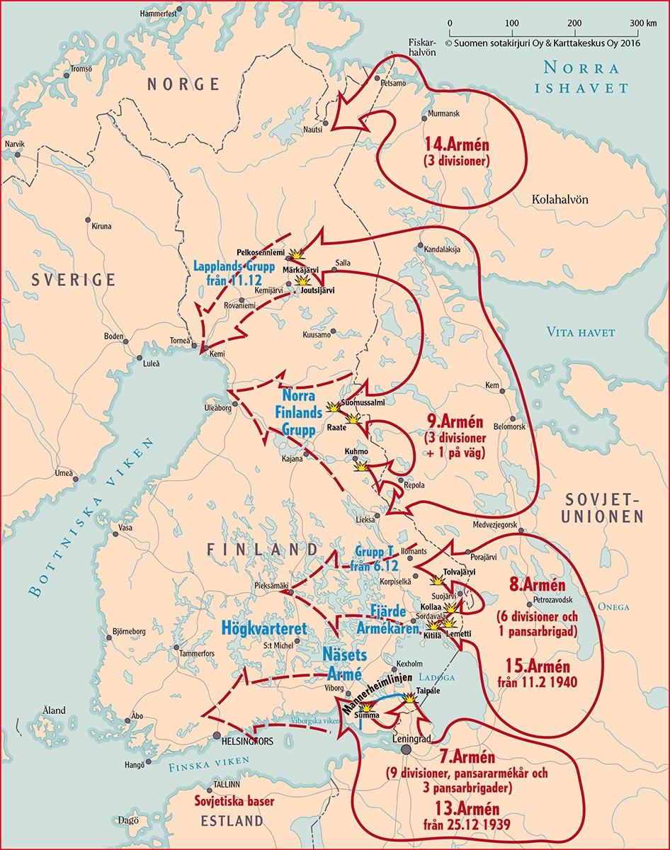 Kartbilden från Vinterkrigsföreningens portal (huvudredaktör, övlt Ari Raunio). De streckade röda pilarna betecknar Röda arméns anfallsmål, de heldragna pilarna det verkliga utfallet.