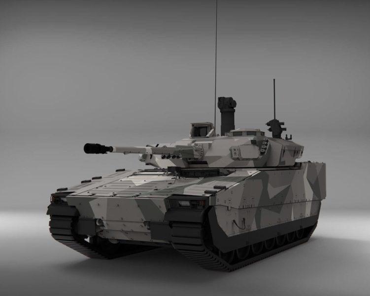 Rendering av CV90 MkIV, här med 35 mm automatkanon. Bild: © BAE Systems 2020.